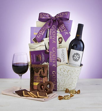 Godiva® Sweets,Chocolates, & Wine Gift Basket