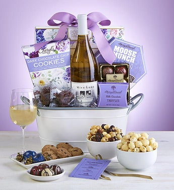 Full Bloom Sweets  Wine Gift Basket