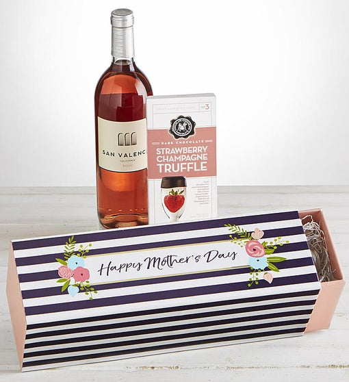 Mother S Day Rose Wine And Chocolate Gift Box 1800baskets Com