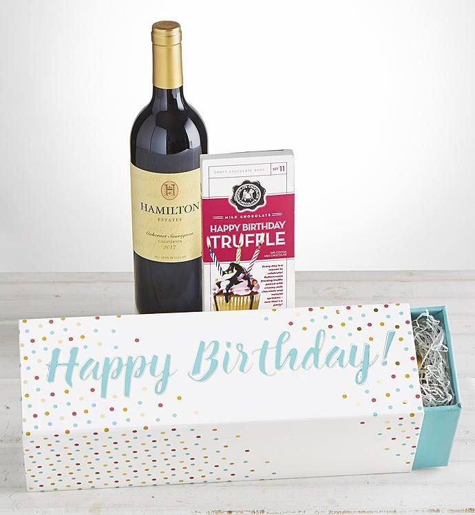 Happy Birthday Cabernet Wine  Chocolate Box