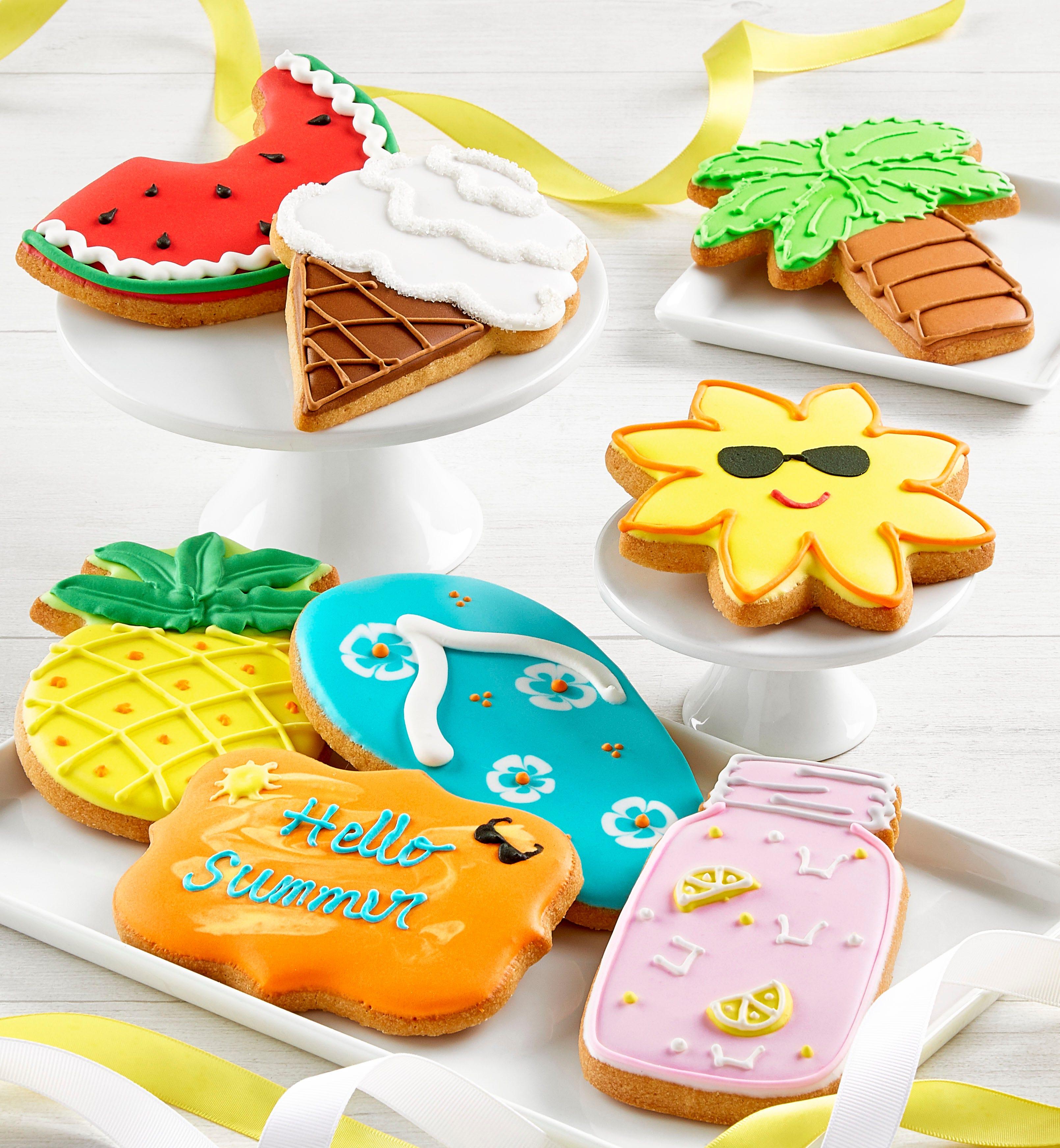 Set of 8 Summer Artisan Iced Cookies