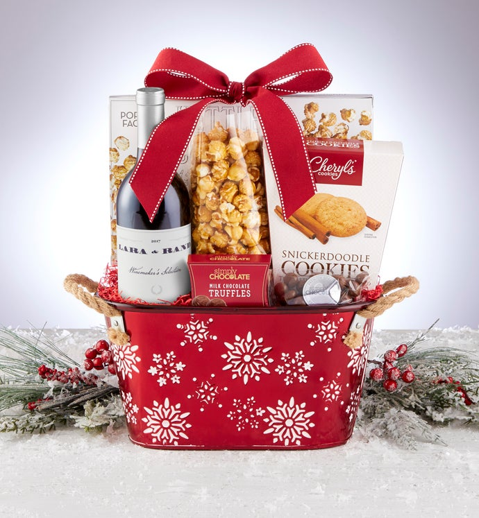 Sparkling Snow Sweets & Treats Basket with Wine