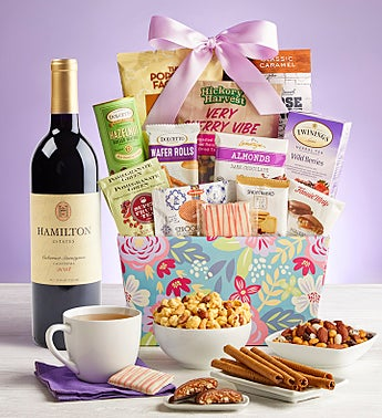 Blooming Delights Gift Basket with Wine