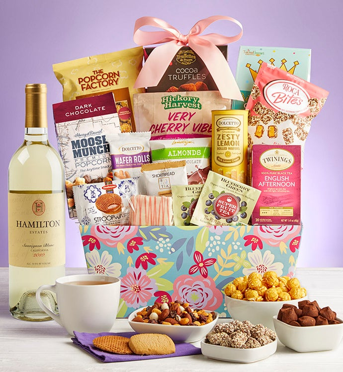 Blooming Grand Delights Gift Basket with Wine