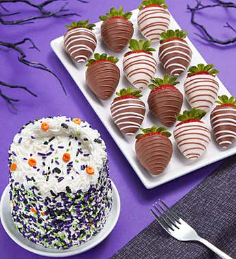 Chocolate Covered Strawberries  & Halloween Cake