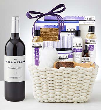 Valentine Denarii Lavender Spa Basket with Wine