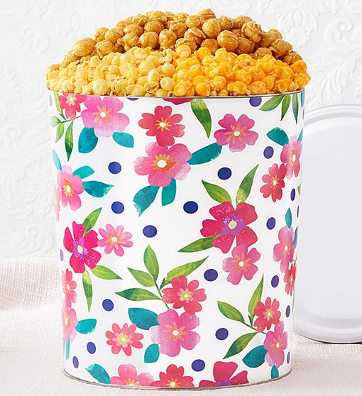 The Popcorn Factory Floral Delight 3 Flavor Tin