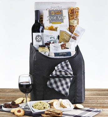 Backpack Cooler with Snacks and Wine