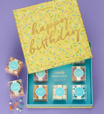 Sugarfina Happy Birthday Candy Bento Box 8Pc by 1-800-Baskets - Gift Basket Delivery