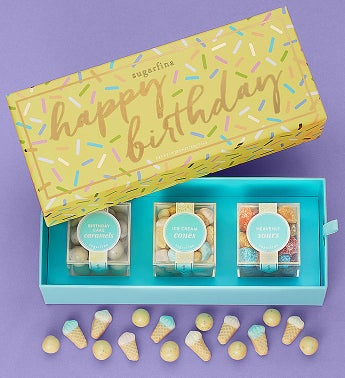 Sugarfina Happy Birthday Candy Bento Box 3Pc by 1-800-Baskets - Gift Basket Delivery