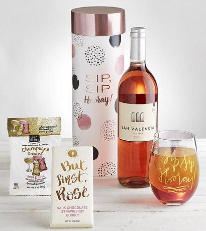 Sip Sip Hooray Rosé Wine & Glass Gift Set