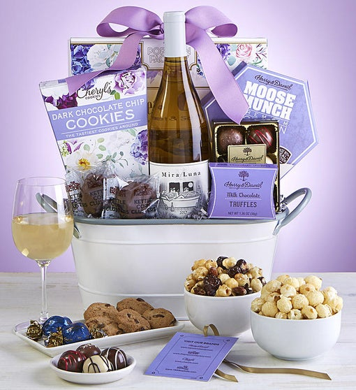 Full Bloom Sweets & Wine Gift Basket