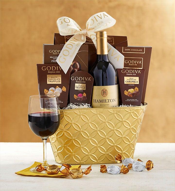 Godiva Decadence Gift Basket with Cabernet Wine