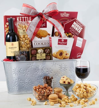 Sparkling Snow Sweets  Wine Basket