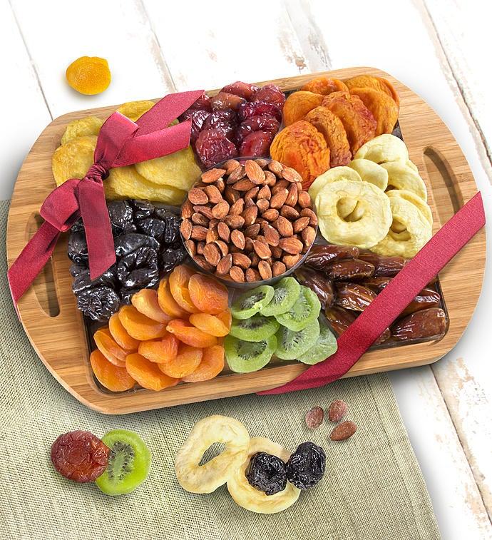 Natural Bamboo Handled Tray with Fruits  Nuts