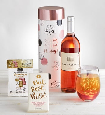 Sip Sip Hooray Ros Wine  Glass Gift Set