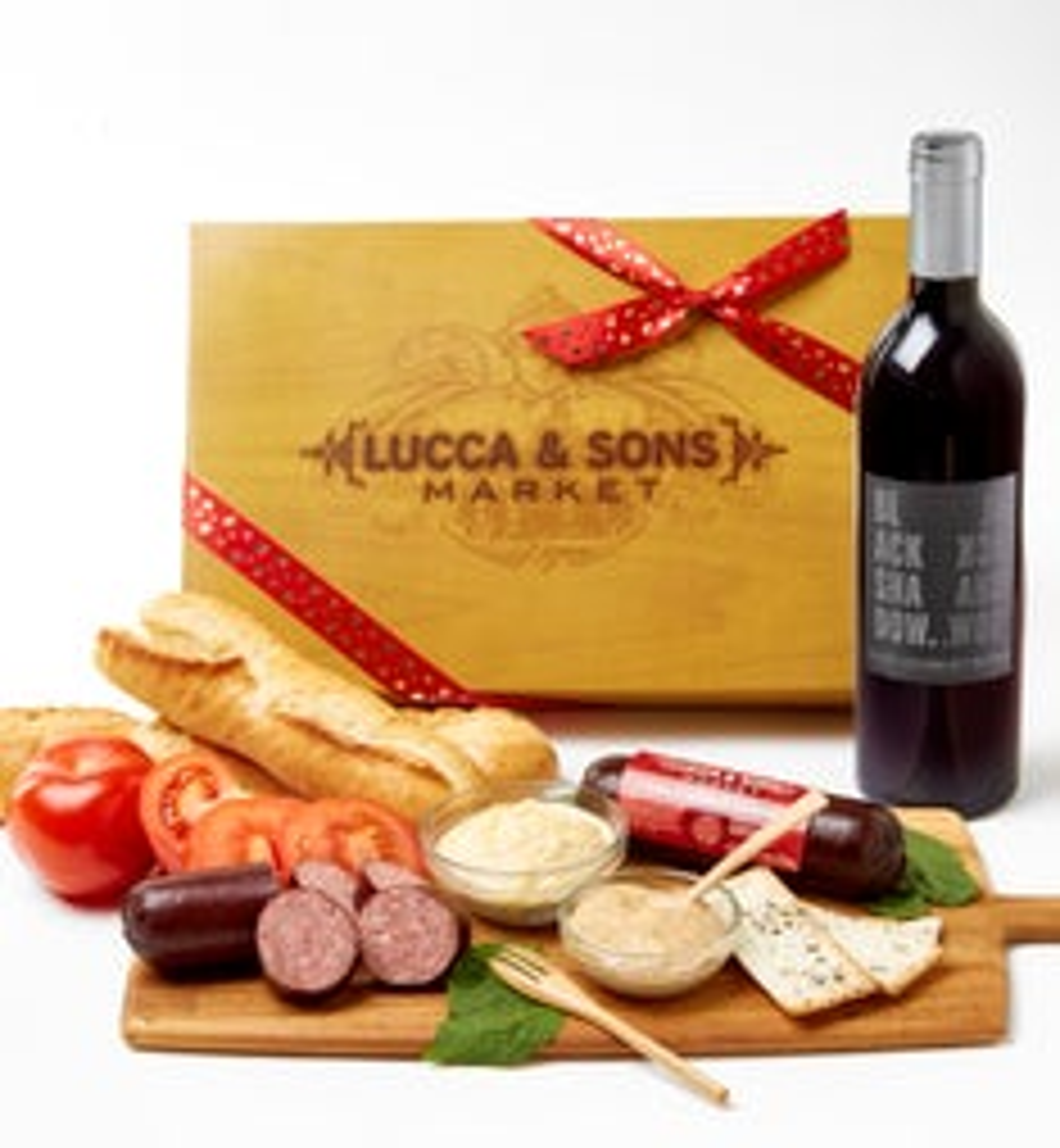 Valentine Sausage  Cheese Box with Red Wine