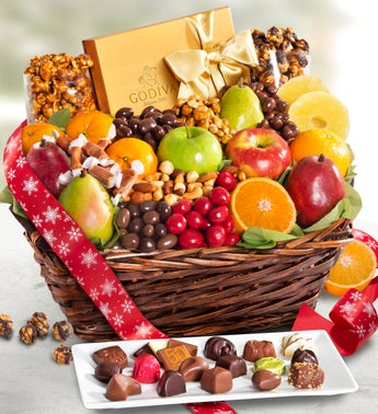 Exclusive Godiva Fruit  Sweets Holiday Basket
