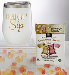 Sippable Glitter Tumbler Cup with Gummies