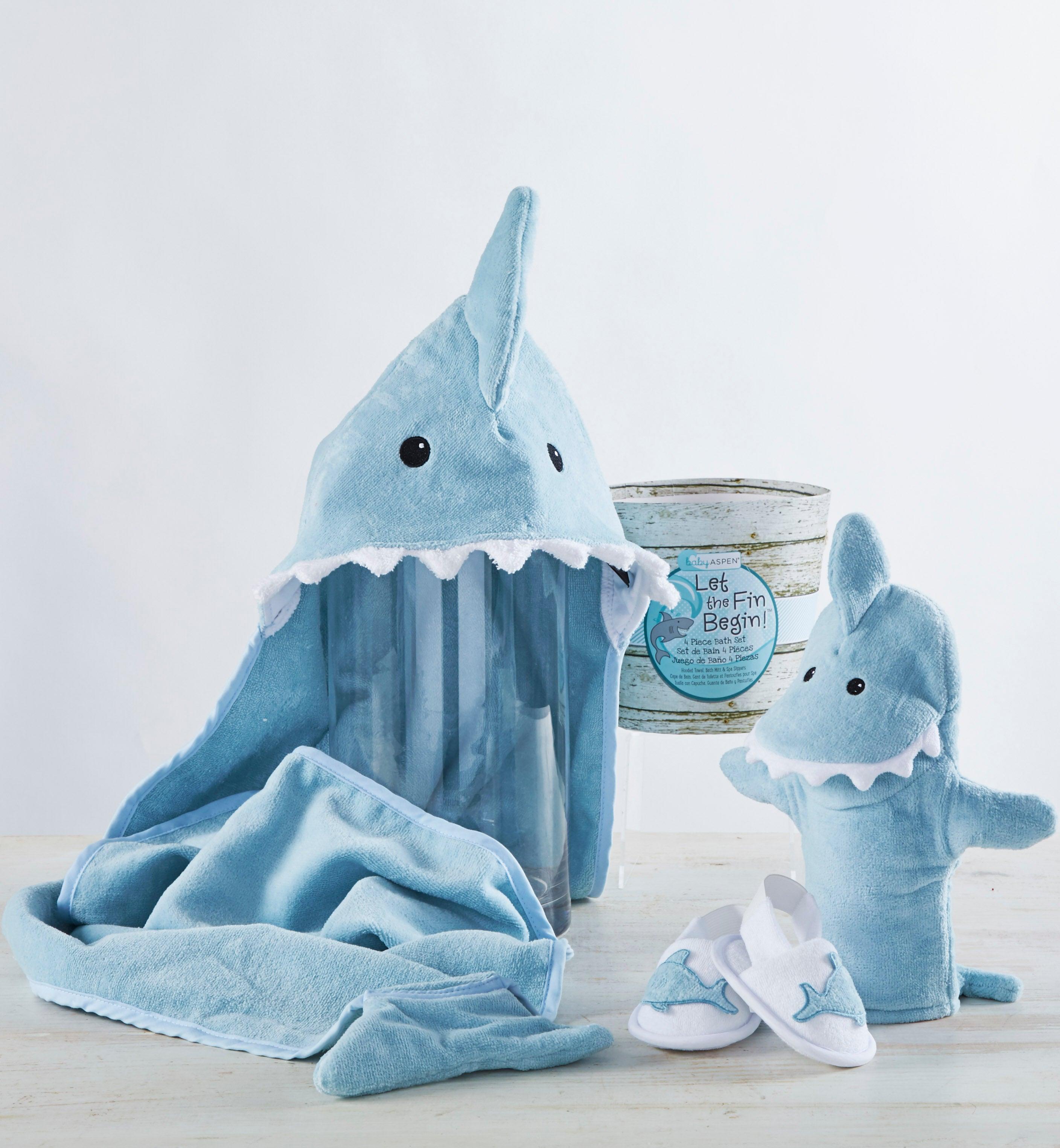 Let the Fin Begin Blue Shark pc Bathtime Gift Set