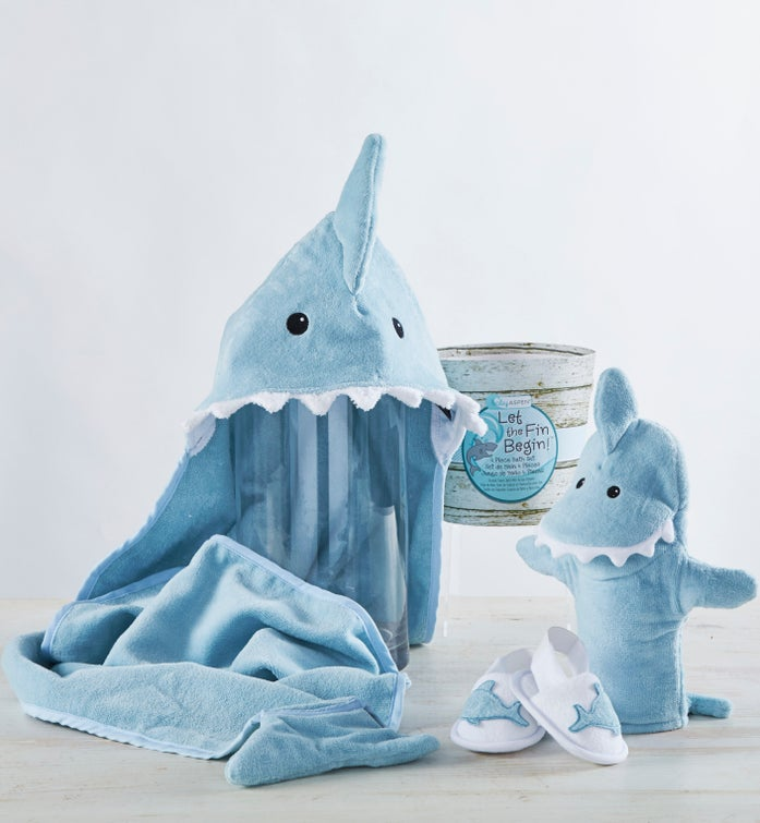 Let the Fin Begin Blue Shark Bathtime Gift Set