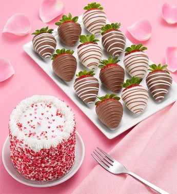Chocolate Covered Strawberries & Red Velvet Cake