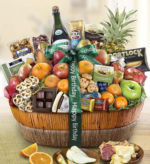 Happy Birthday Fruit & Sweets Gift Basket Grande