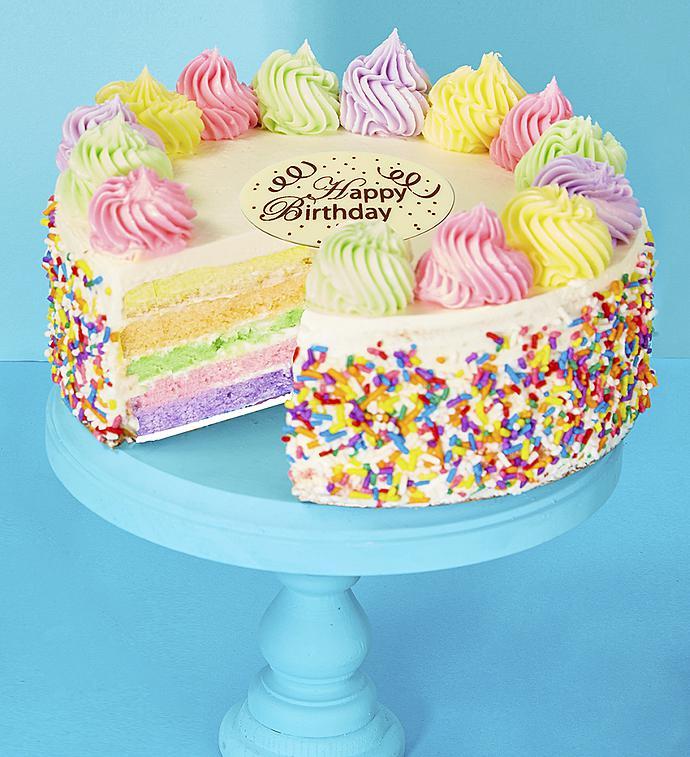 Bake Me A Wish Happy Birthday Rainbow Cake 1800baskets Com