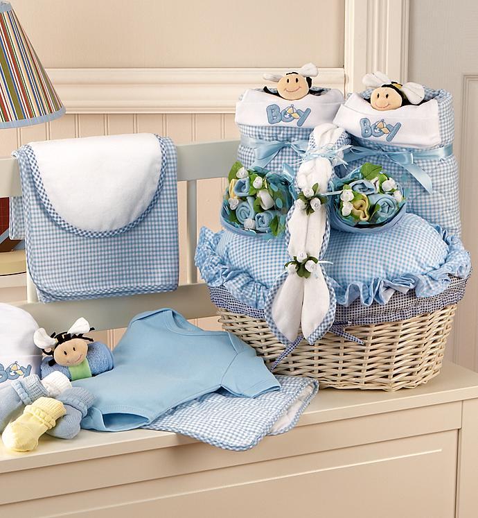 Twice The Fun Twin Boys Newborn Gift Basket - Twice The Fun Twin Boys Newborn Gift Basket