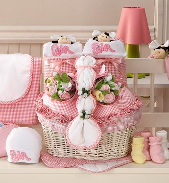 Twin Girl Newborn Gift Basket