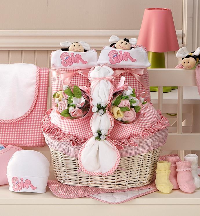 New Twin Girl Newborn Gift Basket - New Twin Girl Newborn Gift Basket