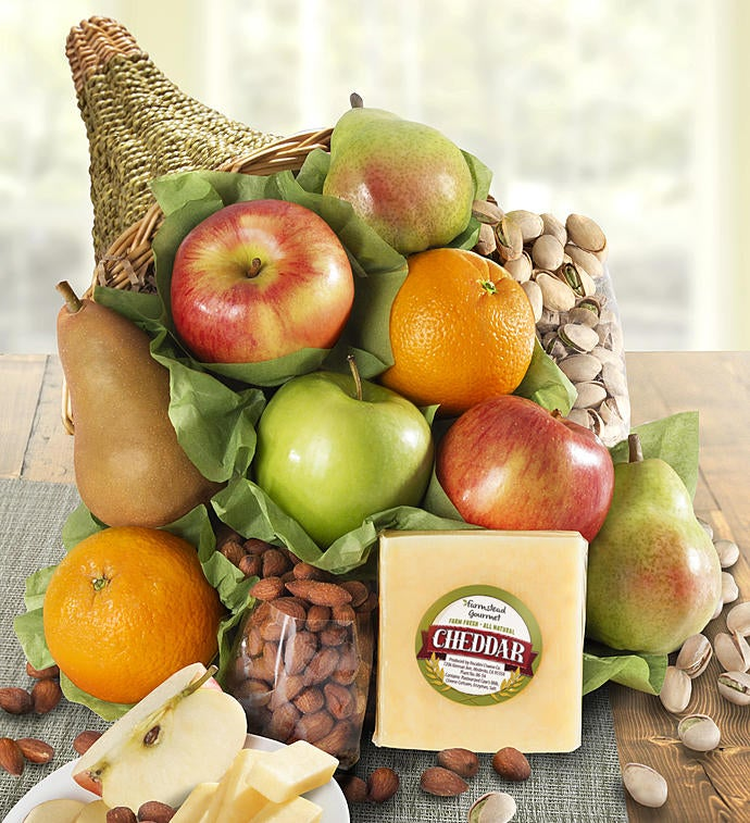 Cornucopia of Fruit Gift Basket & Thanksgiving Gifts | Thanksgiving Food Gift Baskets | 1800Baskets