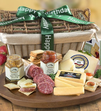 Birthday Deluxe Epicurean Meat & Cheese Basket-Birthday Deluxe Epicurean Meat & Cheese Basket