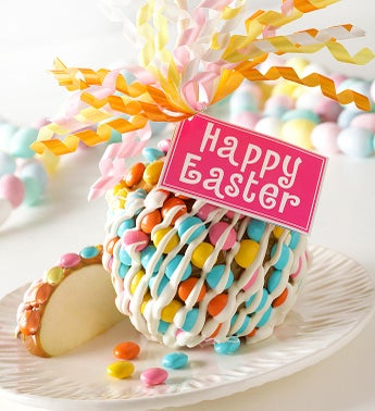 Happy Easter Caramel Apple with Candies