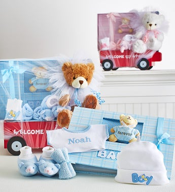 Hello Baby! Boy Or Girl Wagon, Bear & Book - Hello Baby Boy! Personalized Welcome Wagon