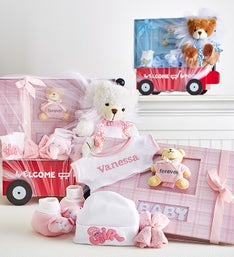 Hello Baby! Boy or Girl  Wagon, Bear & Book