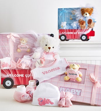 Hello Baby! Boy Or Girl Wagon, Bear & Book - Hello Baby Girl! Personalized Welcome Wagon