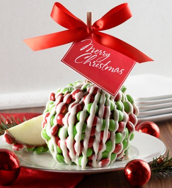 Christmas Caramel Apple with Chocolate Candies