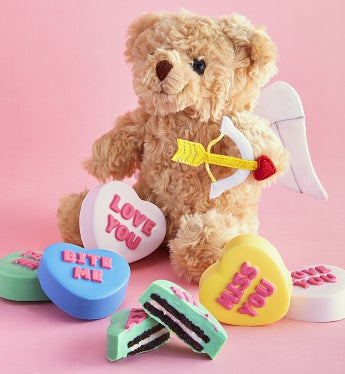 Conversation Heart Oreo® Cookies With Cupid Bear - Conversation Heart Oreo® Cookies With Cupid Bear