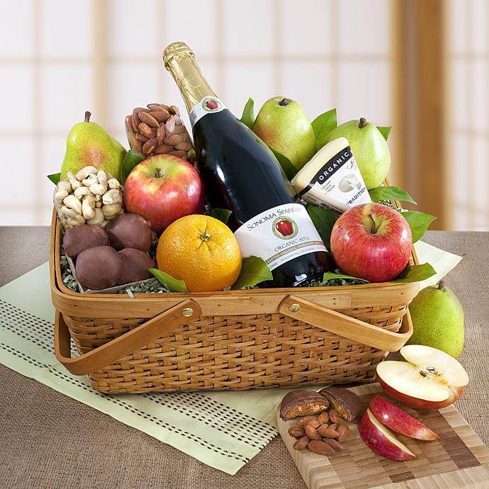 Distinctive Organic Fruit  Cheese Gift Basket