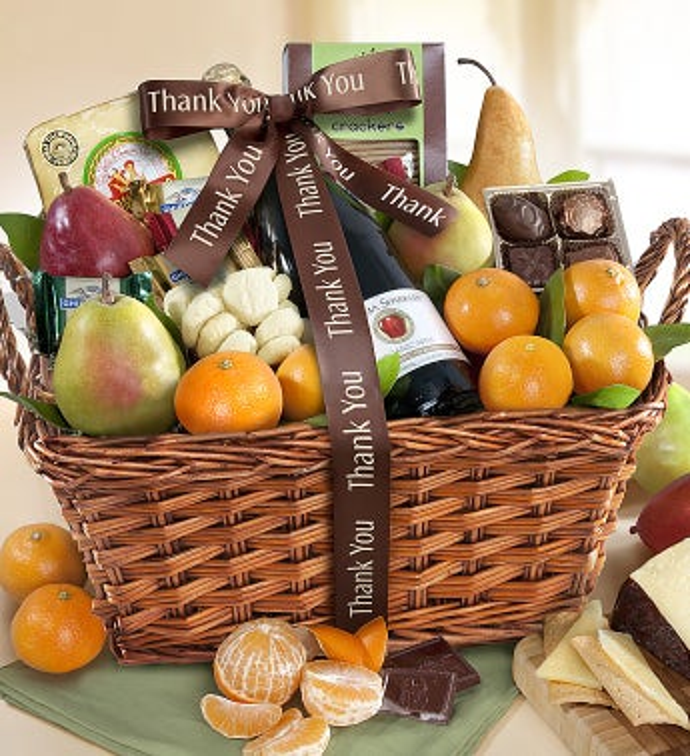 Wonderful You Thank You Gourmet Fruit Gift Basket - Wonderful You Thank You Gourmet Fruit Gift Basket