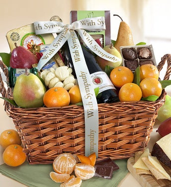 With Sympathy & Love Gourmet Fruit Gift Basket - With Sympathy & Love Gourmet Fruit Gift Basket