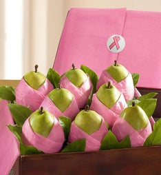 Succulent Comice Pears in Pink Paper