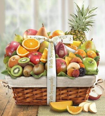 Wishing You Peace Sympathy Fruit Basket - Deluxe - Gift Basket Delivery