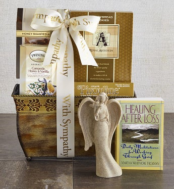 With Sympathy & Support Angel & Book Basket - With Sympathy & Support Angel & Book Basket