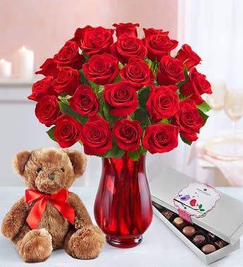 Red Roses with Bear 12-24 Stems