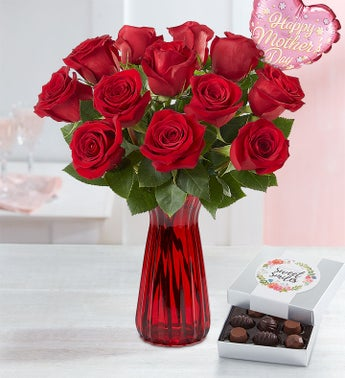One Dozen Red Roses for Mothers Day