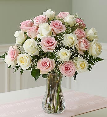 Two Dozen Pink  White Roses