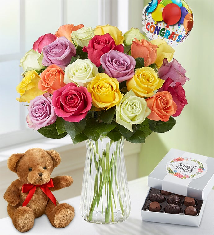 Congratulations Assorted Roses 12-24 Stems