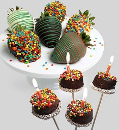 Birthday Brownie Pops & Strawberries